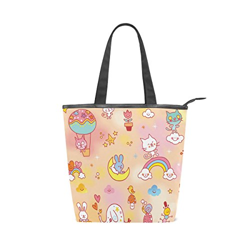 Bag MyDaily Tote Rabbit Shoulder Cat Bird Womens Colorful Elephant Handbag Canvas xwZAgrytqx