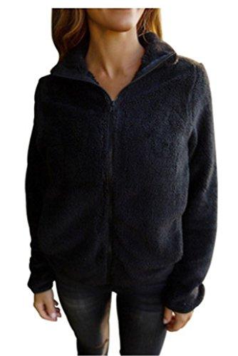 Abrigos de Chaquetas negro YOGLY de Mujer Invierno Mujer Moda de Outerwear Lana de 8Xdqxgd