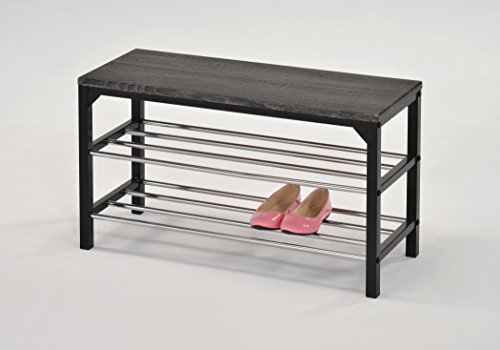 Weathered Grey Top Metal Frame 2-tier Shoe Rack Storage Bench Spacesaver by None