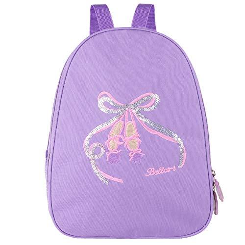 Dance Embroidered Backpack - TiaoBug Girls Ballet Backpack Gym Dance Bag Embroidered School Shoulder Bag Purple One Size