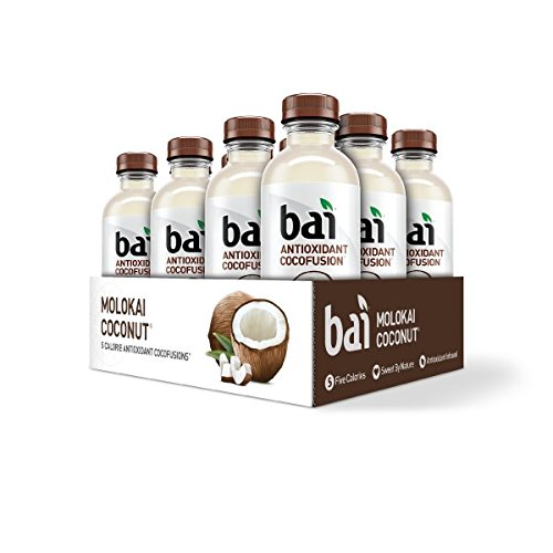 Bai Coconut Flavored Water, Molokai Coconut, Antioxidant Infused Drinks, 18 Fluid Ounce Bottles, 12 - Antioxidant Energy Drink
