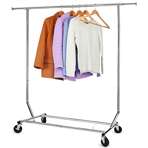 Wardrobe Single (Hokeeper 250 Lbs Load Capacity Commercial Grade Clothing Garment Racks Heavy Duty Sing Rail Adjustable Collapsible Rolling Clothes Rack, Chrome Finish)