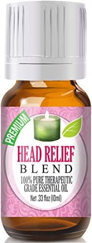 Head Relief Essential Oil Blend - 100% Pure Therapeutic Grade Head Relief Blend Oil - 10ml