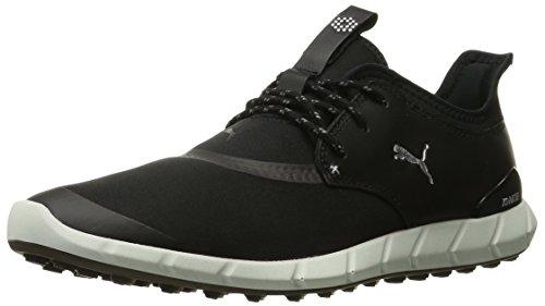 PUMA Men's Ignite Spikeless Sport Golf Shoe, Black Silver, 9.5 Medium US