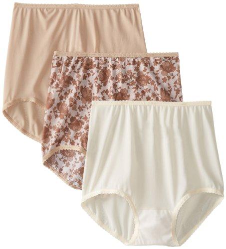 Bali Women's Skimp Skamp Brief Panties (3-Pack), Nude/Moonlight/Lace Print, 8