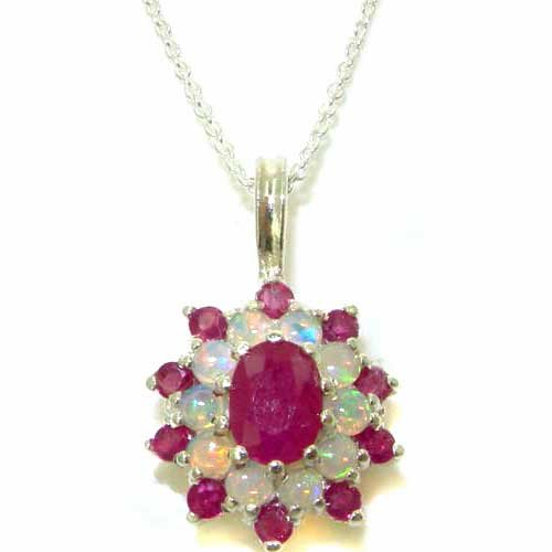 Ladies Solid 925 Sterling Silver Ornate Large Natural Ruby & Opal Large Cluster Pendant Necklace