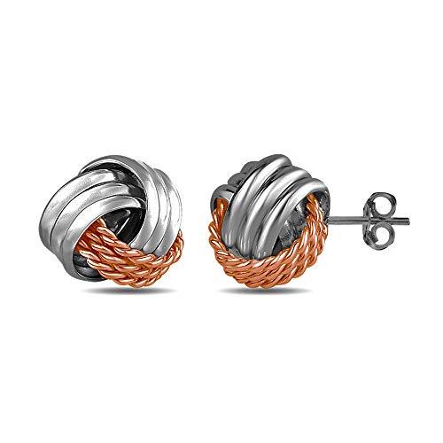 LeCalla Sterling Silver Jewelry Two Tone Italian Design Love Knot Stud Earring for Women