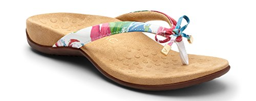 Vionic Women's Rest Bella II Toepost Sandal - Ladies Flip Flop with Concealed Orthotic Arch Support White Floral 10 M US