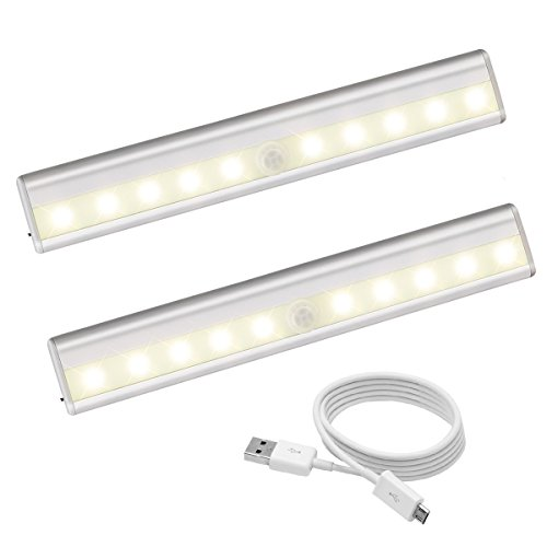 Motion Sensing Closet Lights 10 LED Rechargeable Night Light Bar for Cabinet Wardrobe Cupboard Drawer Stairs Step Stick-on Safe Lights Bed Light with Magnetic Strip.(Warm White - 2 Pack) by OHSMA