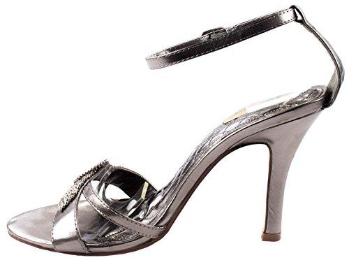Celeste Chaussures Femmes Chris-02 En Cuir Synthétique À Talons Hauts Pompes Avec Cluster Strass Boucle Powter