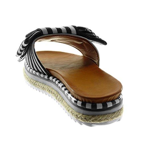 Bicolore 3 Slip Lignes on 5 Plat Plateforme Mule Mode Talon Sandale Noir Noeud cm Angkorly Chaussure Femme IRqwnOvA