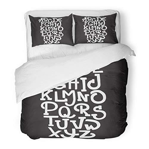 (Emvency Bedding Duvet Cover Set Full/Queen (1 Duvet Cover + 2 Pillowcase) Halloween Trendy Custom Handwritten Alphabet Original Letters Vintage Retro Typeface Hotel Quality Wrinkle and Stain)