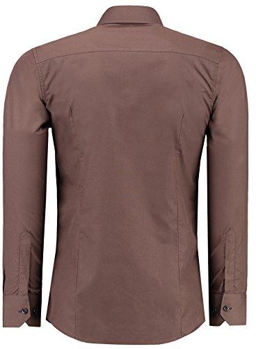 Jeel Camisa de manga larga para hombre, estilo business, para traje y tiempo libre, ajustada marrón XXXXXL