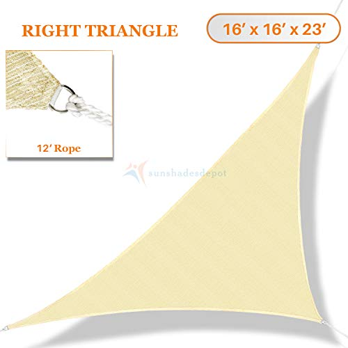 TANG Sunshades Depot 16' x 16' x 23' Sun Shade Sail Right Triangle Permeable Canopy Tan Beige Custom Commercial Standard 180 GSM HDPE ()