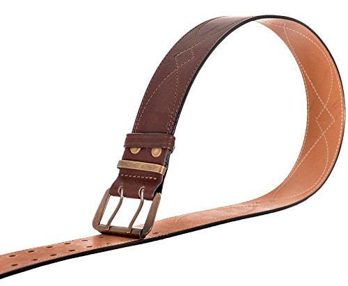 Genuine leather stitched premium quality belt 2 inches width 50mm