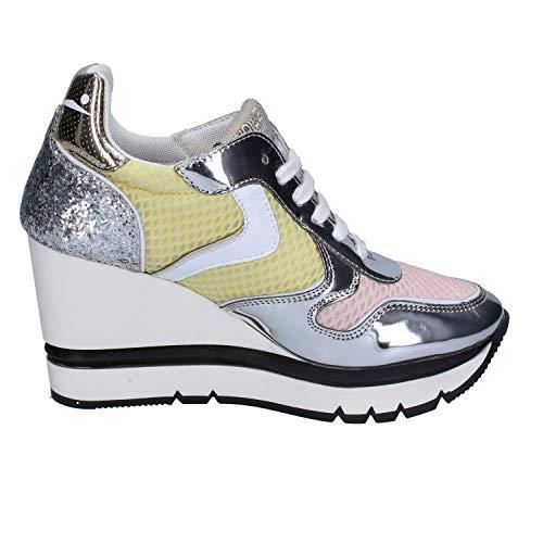 Femme Sport Voile Textile De Chaussures Blanche Argenté qfx4xwAI