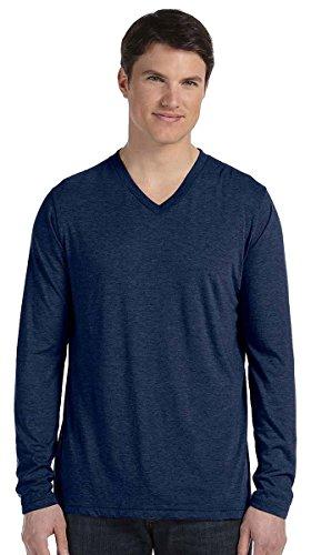(Canvas Bella Men's Tri-Blend V-Neck Jersey T-Shirt, NVY Triblend, X-Large)