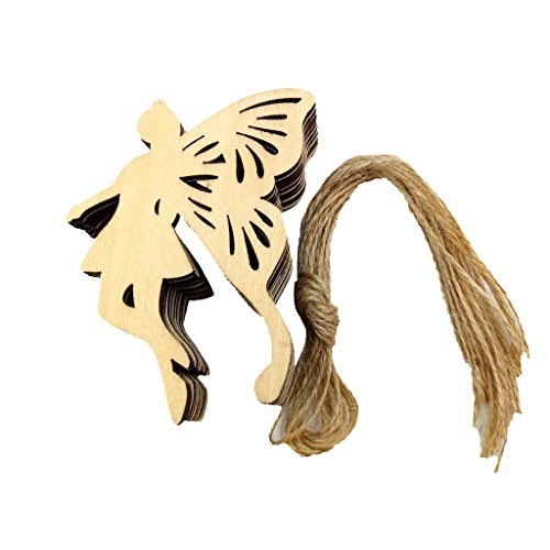 MonkeyJack 10 Pieces Butterfly Fairy Wooden Shape Craft Embellishment for Scrapbooking Decoration Wood Gift Tags Xmas Ornaments with String ()
