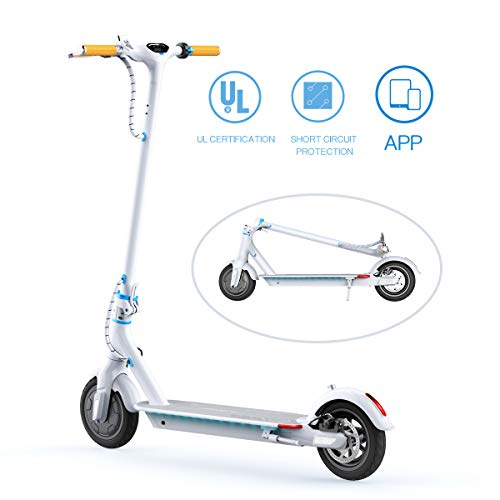 TOMOLOO Electric Scooter, Ultra-Lightweight Folding Electric Scooter for Adults, 18.6 Miles Long-Range Battery Up to 15.5 MPH with Double Braking System and Smart APP Commuting Scooter