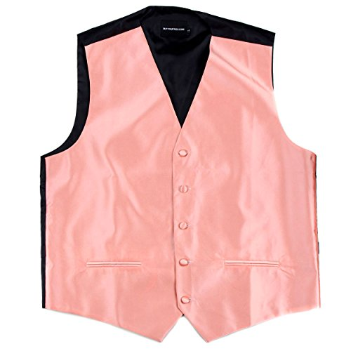 Buy Your Ties Mens Formal Satin Solid Color Satin Tuxedo Formal Vest Only Peach ()