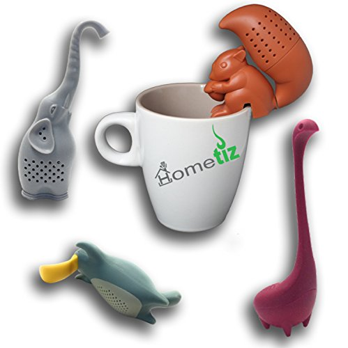 Silicone Tea Infuser Set Of 4 By Hometiz: Sweet And Funny Shapes Of Animals, Loose Leaf Herbal Tea Strainer For Different Kinds Of Mugs And Leaves, Easy To Use And To Clean, Non-Toxic Silicone Tea Infuser