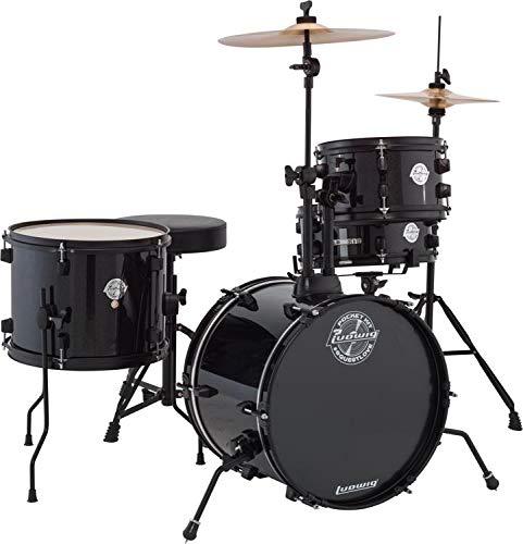 Tom Black Drum Ludwig - Ludwig LC178X016 Questlove Pocket Kit 4-Piece Drum Set-Black Sparkle Finish, inch (
