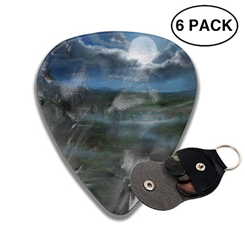 Guitar Picks Holiday Halloween Spooky Cemetery Fog Cloud Gravestone Country Celluloid Thin Medium Heavy Bass 3D Printed Variety Pick Small Music Gifts Grip -6pcs -