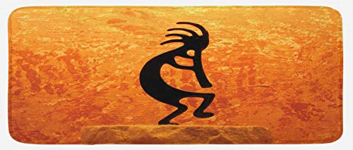 - Lunarable Kokopelli Kitchen Mat, Kokopelli Southwestern Style Native American Eastern Ancient Belief Picture Art, Plush Decorative Kithcen Mat with Non Slip Backing, 47 W X 19 L Inches, Orange Black