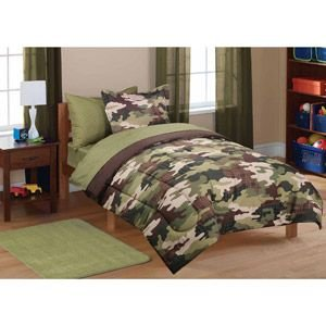 Camo Bed Bag - 7pc Boy Green Brown Camouflage Full Comforter, Sham & Sheet Set (7pc Bed in a Bag)