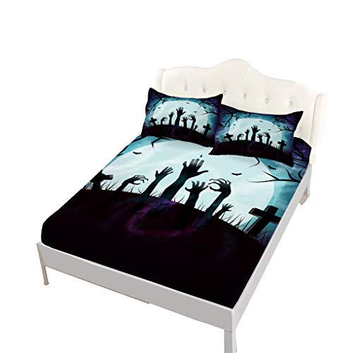 VITALE Bed Sheets Set, Halloween Printed Fitted Sheet