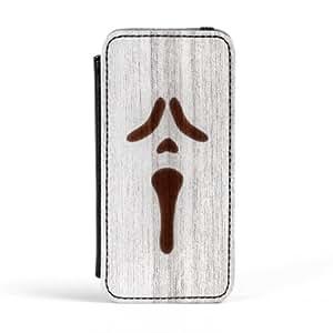 White Spray On Wood Scarry Carcasa Protectora Premiun PU en Cuero, con Tapa para Apple® iPhone 5 / 5s de Chargrilled + Se incluye un protector de pantalla transparente GRATIS