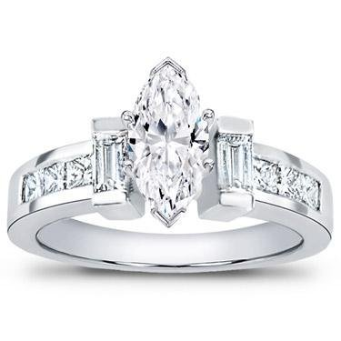 1.50 Ct TW Ladies Marquise Shape Diamond Engagement Ring in Platinum