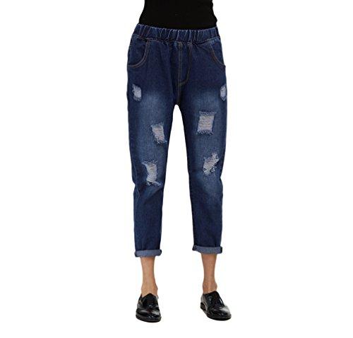 Larghi Jeans Strappati Denim Normali Tagliata Estate Signore Pantaloni All'aperto Dexinx Scuro Informale Semplici Blu zqwxtwH6v