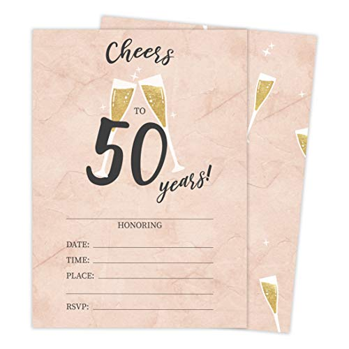 50th Birthday Style R Happy Birthday Invitations Invite Cards (10 Count) With Envelopes Boys Girls Kids Party (10ct) -