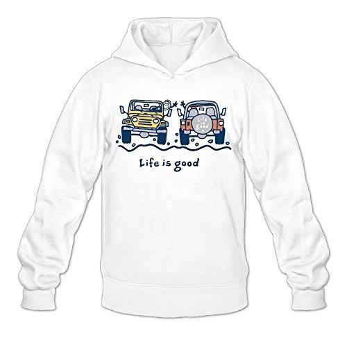 Jeep Cartoon Life Is Good Classic Men's Hooded Hoodies White XL -