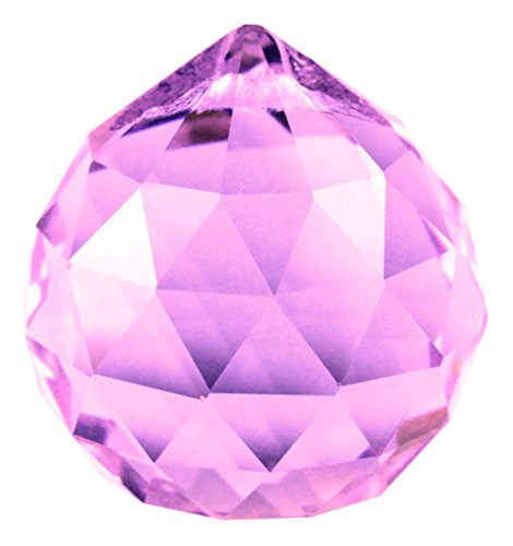 JABUX 40mm Clear Crystal Ball Prisms Pendant Feng Shui Hanging Faceted Prism Balls (Purple)
