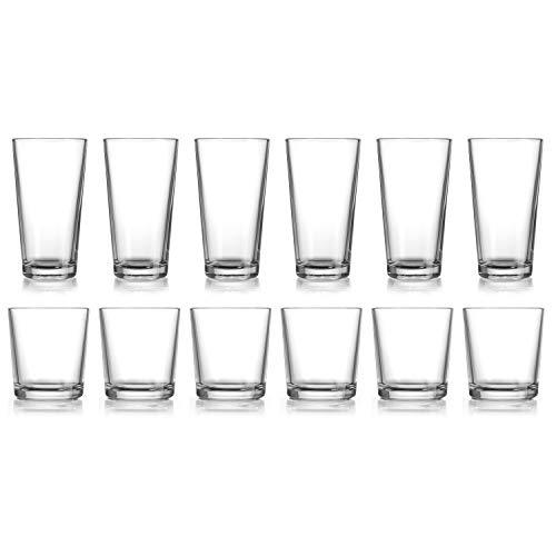 HE Classic Drinking Glasses Set, 12-Count Classic Glassware, Includes 6 Cooler Glasses(17oz) 6 DOF Glasses(13oz)12-piece…