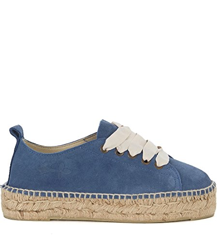650fa7225 Manebí Women s Hamptons Suede Blue and Jute Espadrilla Sneaker 38(IT)-8(