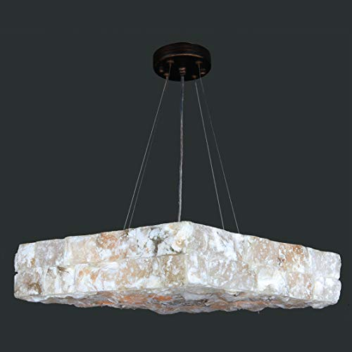 Worldwide Lighting Pompeii Collection 5 Light Flemish Brass Finish and Natural Quartz Square Pendant 18