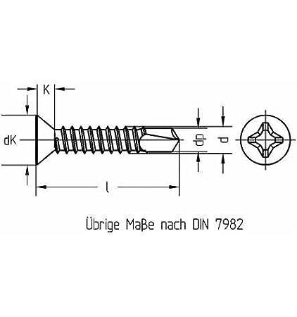 Reidl Bohrschrauben Blechschrauben mit Bohrspitze 4,8 x 22 mm DIN 7504 Stahl galv verzinkt farblos 1000 St/ück