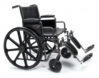 "Everest & Jennings 3G010430 Traveler HD Wheelchair, Detachable Desk Arm, Elevating Legrest, 22"" x 18"", Black"