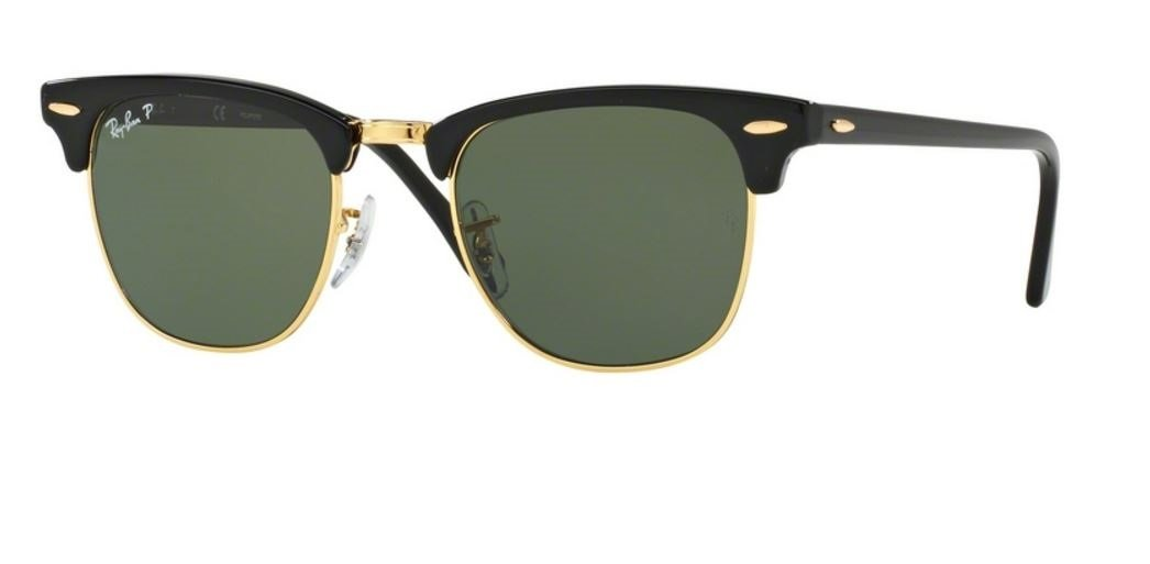 Ray Ban Rb3016 901/58 49M Clubmaster, Black/Green Polarized, Size 49 Mm by Ray-Ban