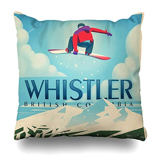 Ahawoso Throw Pillow Cover Square 20x20 Inches Quot Snowboard Booter Whistler Bc Travel Poster Decorative Pillow Case Home Decor Pillowcase