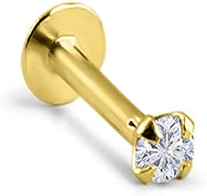 14KT Yellow Gold Bioflex Nose Screw Ring 2mm 18 Gauge 18G
