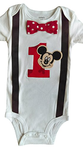 Baby Boys 1st Birthday Outfit Mickey Mouse Bodysuit, White-black-red-dot, 18M-Short (Mickey Mouse Birthday Shirt)