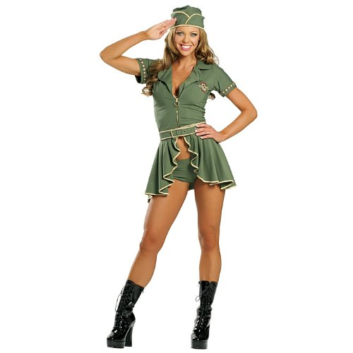 [Sexy Pin-Up Army Girl Costume - M/L] (Pin Up Girl Costume Halloween)