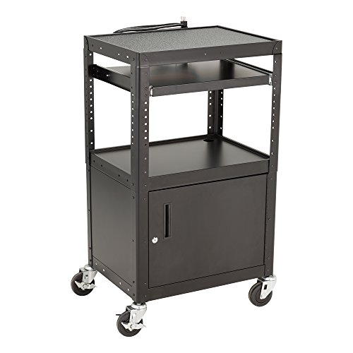 Norwood Commercial Furniture Adjustable Height Metal AV Cart with Cabinet, Electric Power & Sliding Tray, NOR-GNO1010-PK-SO