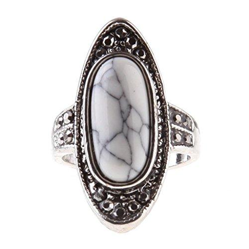 Ca Women's Turquoise Flower Shape Gem Ring White 9