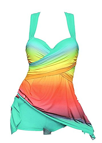 Boyshorts with Colorful pcs Lakeblue Bathing Swimsuit Tankini Plus Swimdress Set Womens 2 Cytree Suit Size wgOTT7
