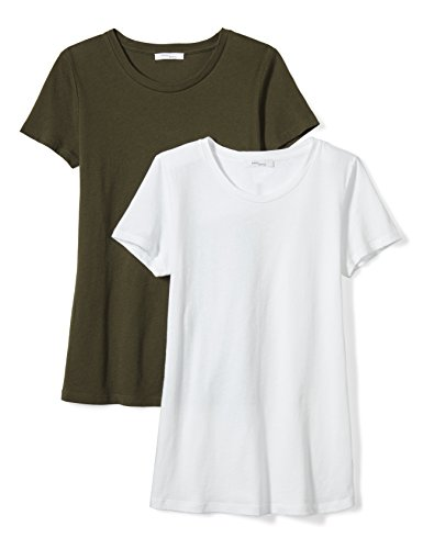 Sheer Crew Tee - Daily Ritual Women's Tissue Cotton Short-Sleeve Crew Neck T-Shirt, 2-Pack, XXL, White/Forest Green